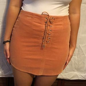 Forever 21 peachy orange suede skirt